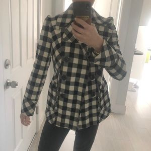 Checkered Double Breasted Pea Coat